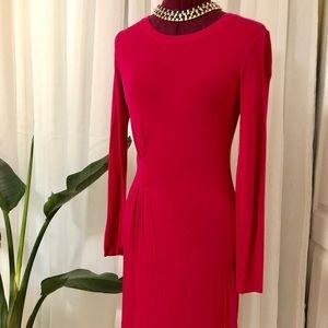BCBG Long Sleeve Asymmetrical Hem Pink Shift Dress